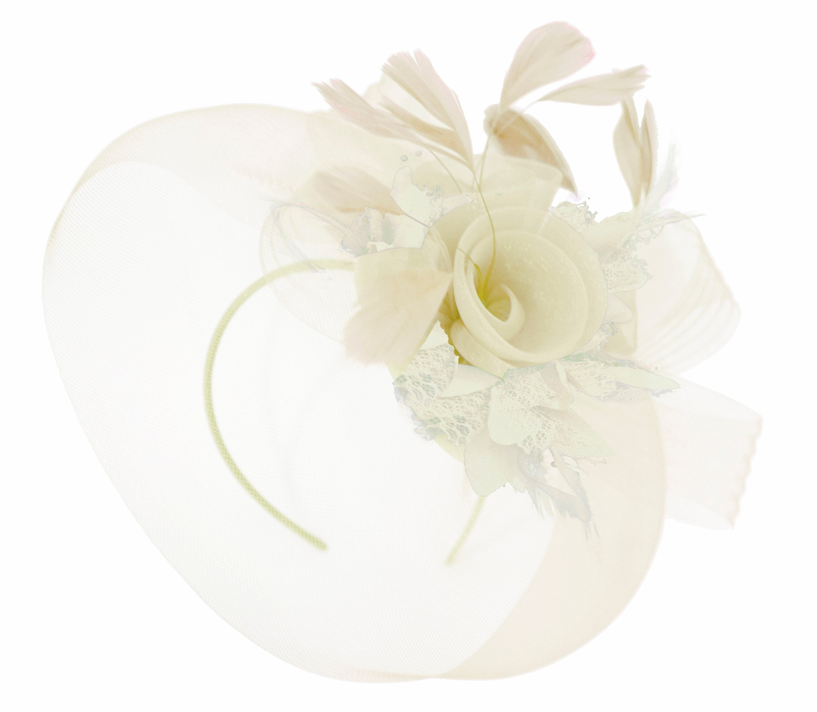 Caprilite Cream Fascinator on Headband Veil UK Wedding Ascot Races Hatinator Women