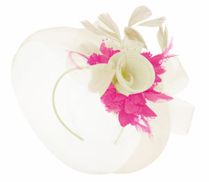 Caprilite Cream and Fuchsia Hot Pink Fascinator on Headband Veil UK Wedding Ascot Races Hatinator Women