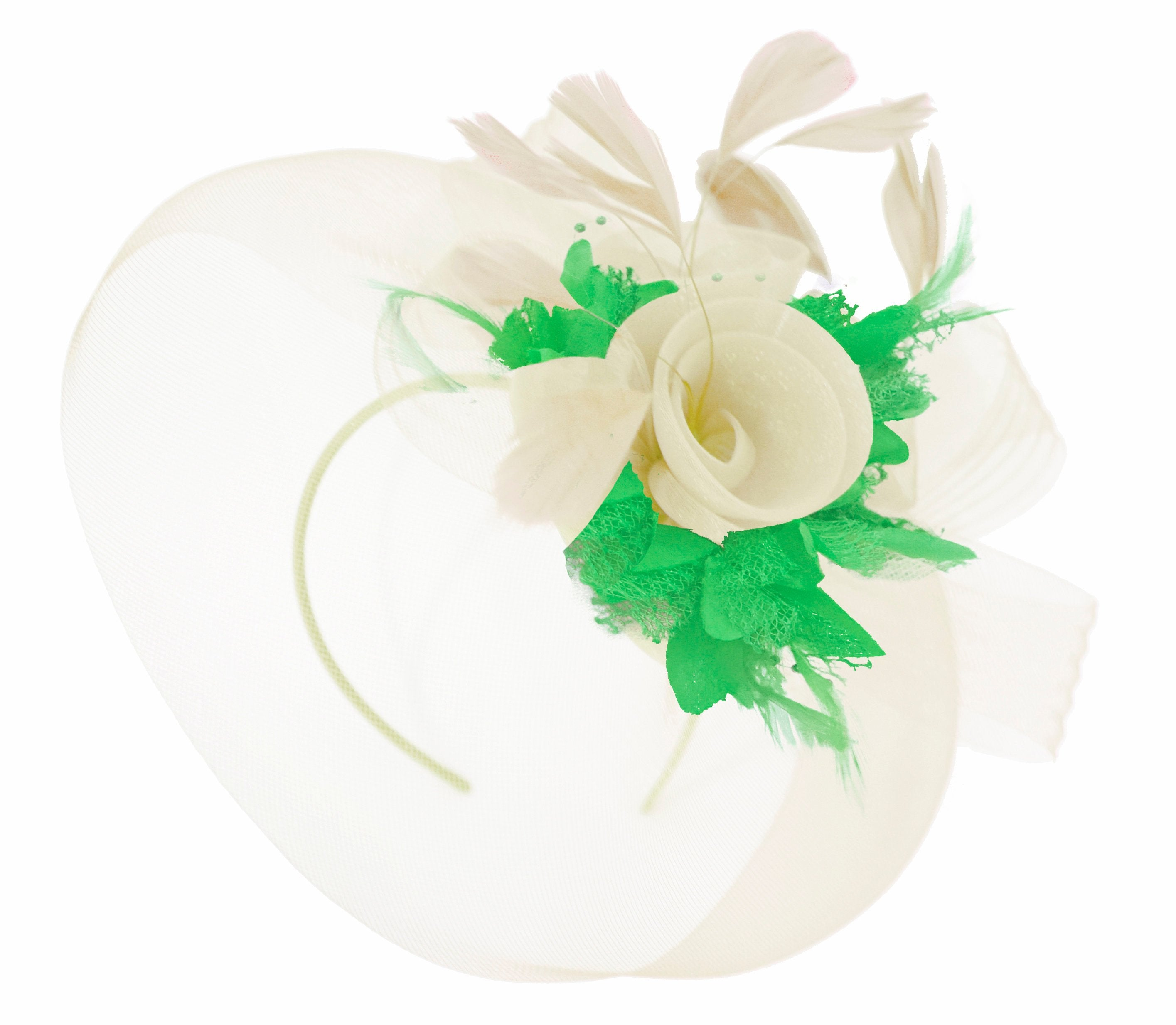 Caprilite Cream and Grass Green Fascinator on Headband Veil UK Wedding Ascot Races Hatinator Women