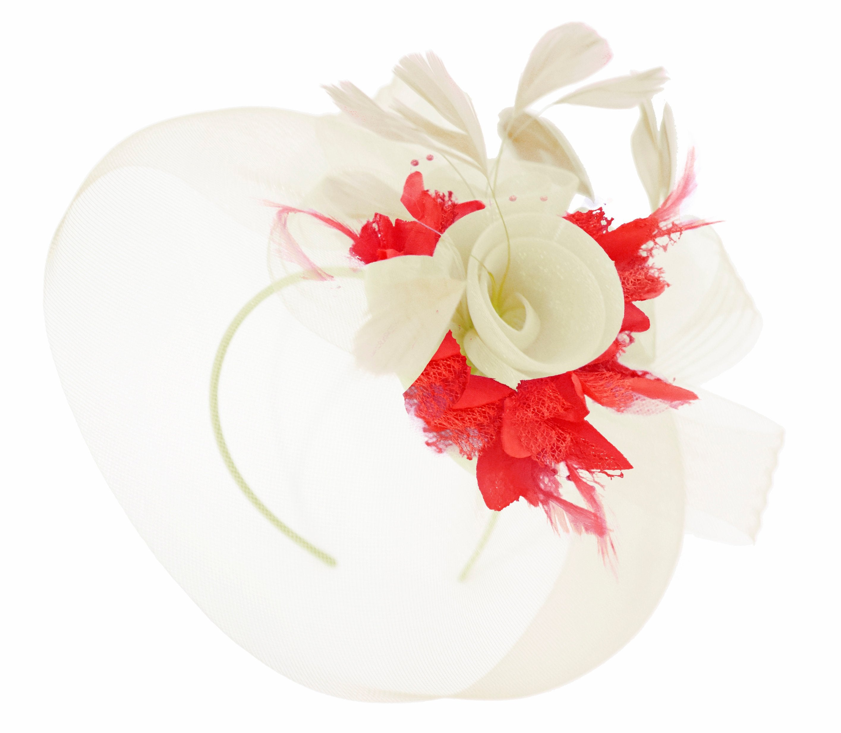 Caprilite Cream and Red Fascinator on Headband Veil UK Wedding Ascot Races Hatinator Women