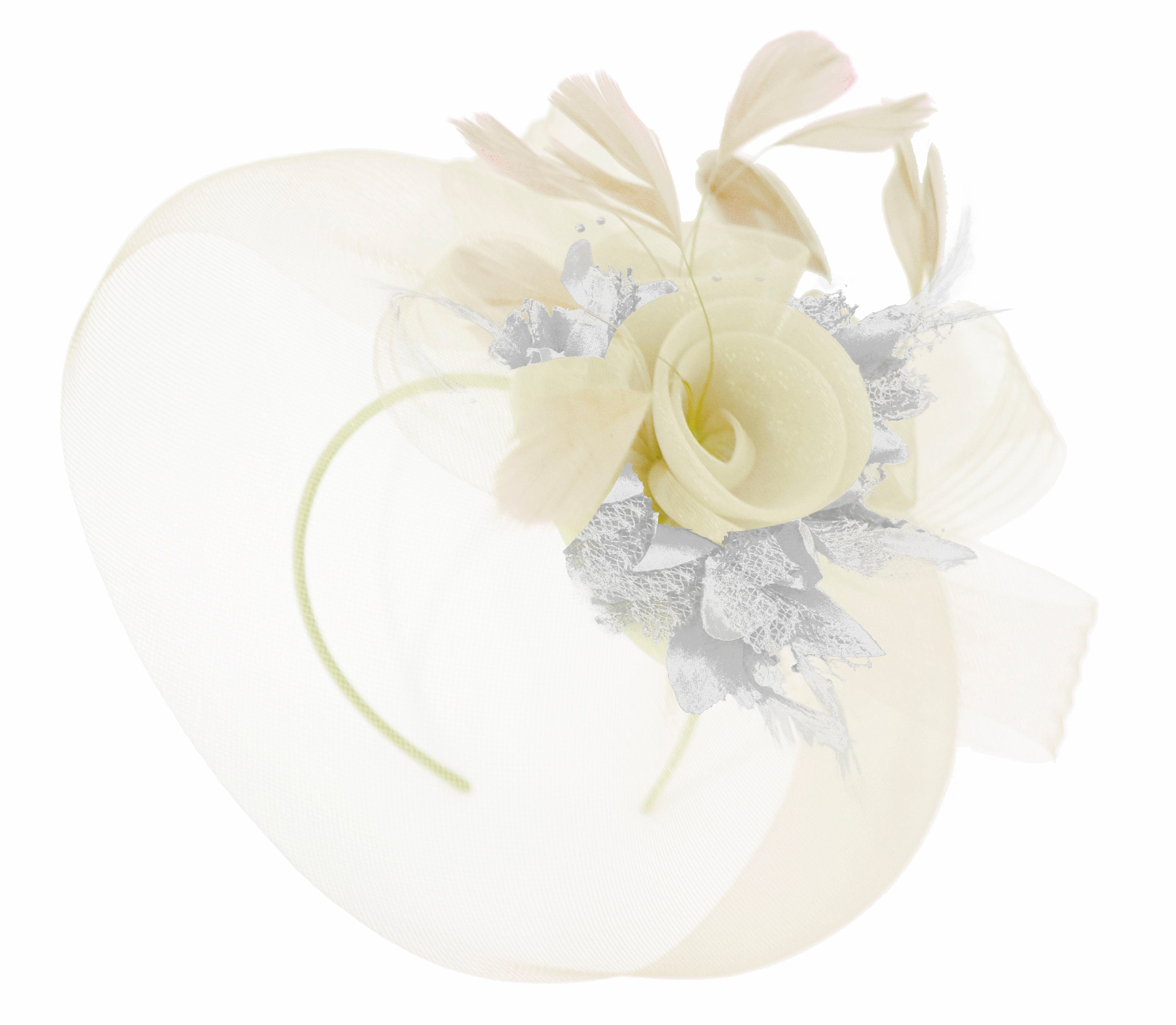 Caprilite Cream and Silver Fascinator on Headband Veil UK Wedding Ascot Races Hatinator Women