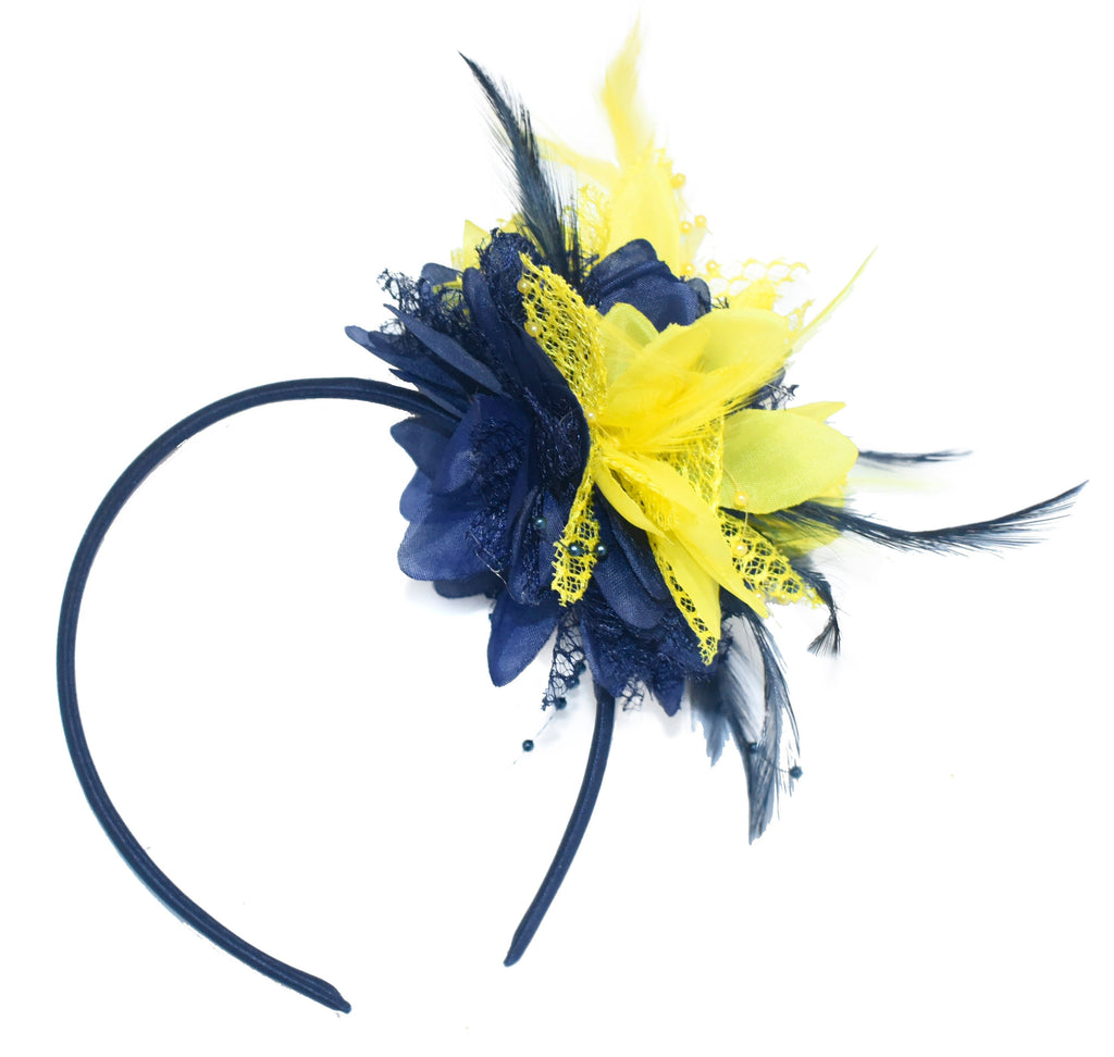 Caprilite Navy and Yellow Fascinator Headband Hair Band Flower Corsage