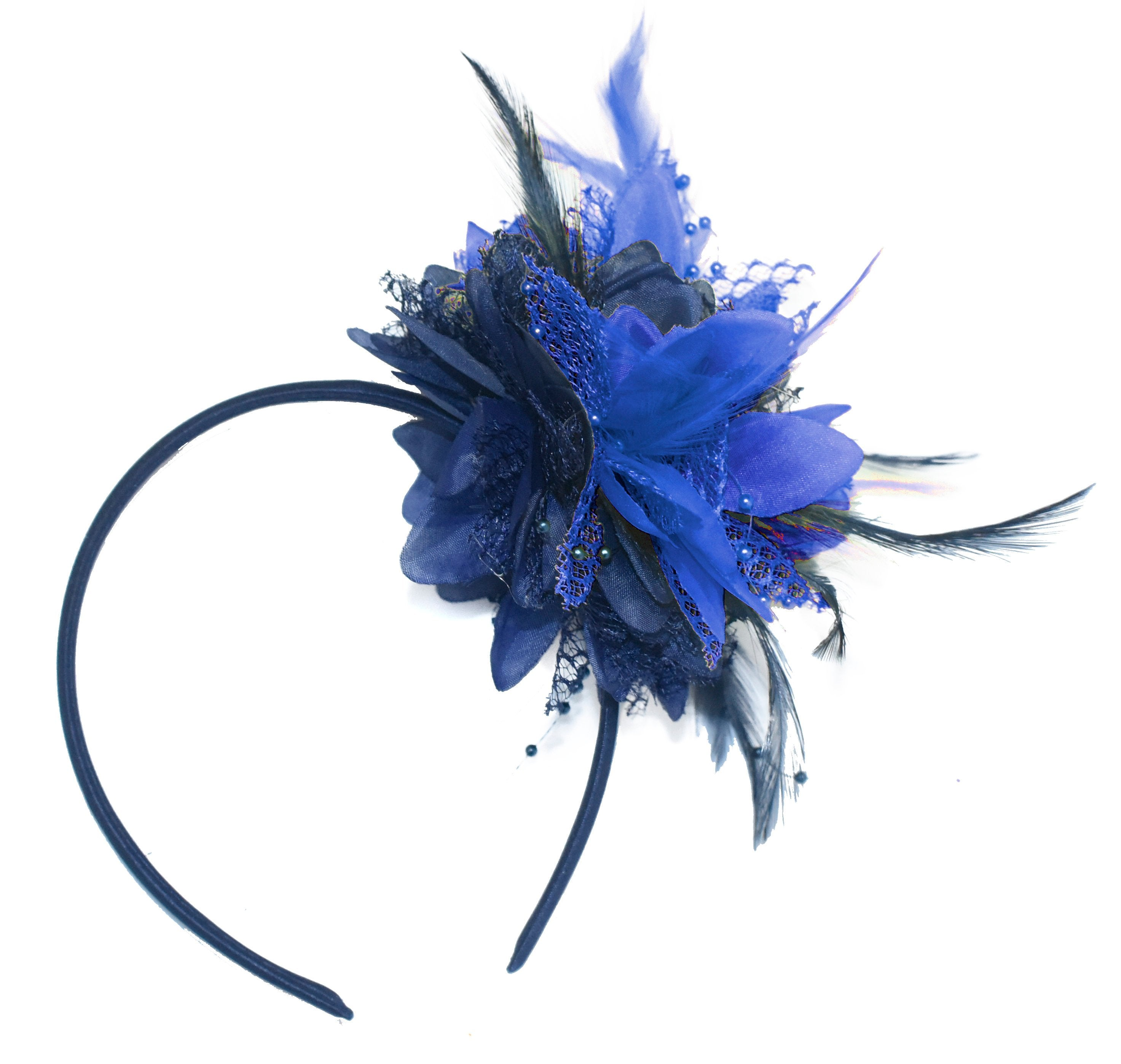 Caprilite Navy and Royal Blue Fascinator Headband Hair Band Flower Corsage
