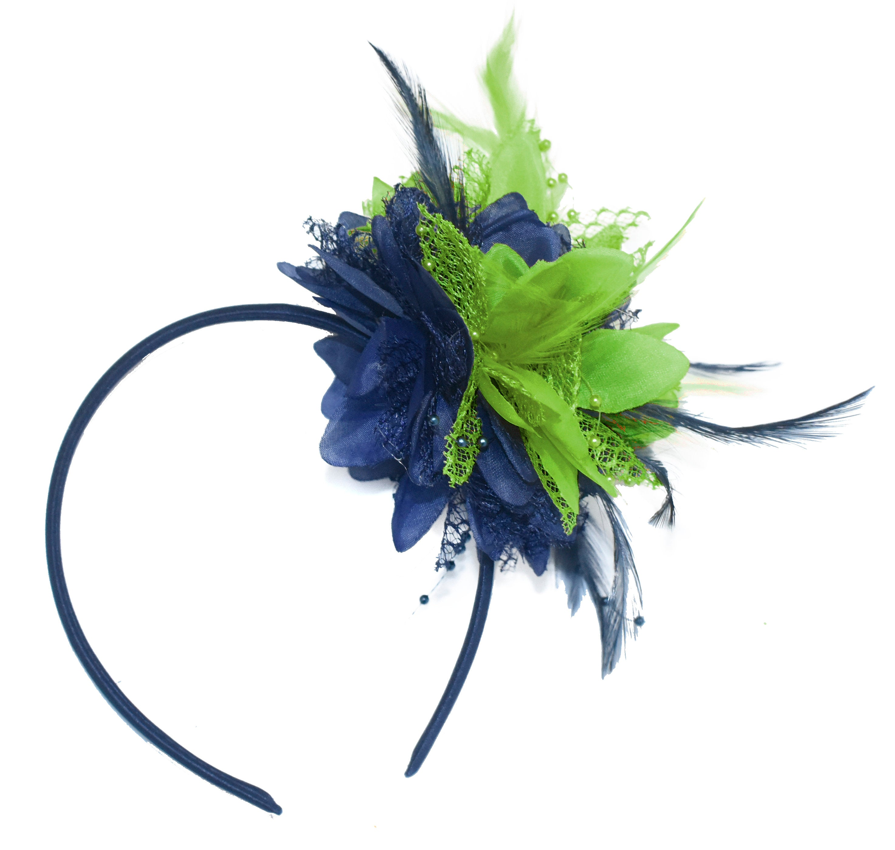 Caprilite Navy and Lime Fascinator Headband Hair Band Flower Corsage
