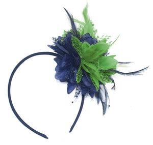 Caprilite Navy and Green Fascinator Headband Hair Band Flower Corsage