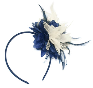 Caprilite Navy and Ceam Fascinator Headband Hair Band Flower Corsage