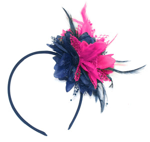 Caprilite Navy and Fuchsia Hot Pink Fascinator Headband Hair Band Flower Corsage