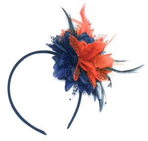 Caprilite Navy and Coral Fascinator Headband Hair Band Flower Corsage