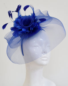 Caprilite Big Royal Blue Fascinator Hat Veil Net Hair Clip Ascot Derby Races Wedding Headband Feather Flower