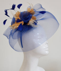 Caprilite Big Royal Blue and Beige Fascinator Hat Veil Net Hair Clip Ascot Derby Races Wedding Headband Feather Flower