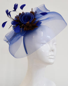 Caprilite Big Royal Blue and Brown Fascinator Hat Veil Net Hair Clip Ascot Derby Races Wedding Headband Feather Flower