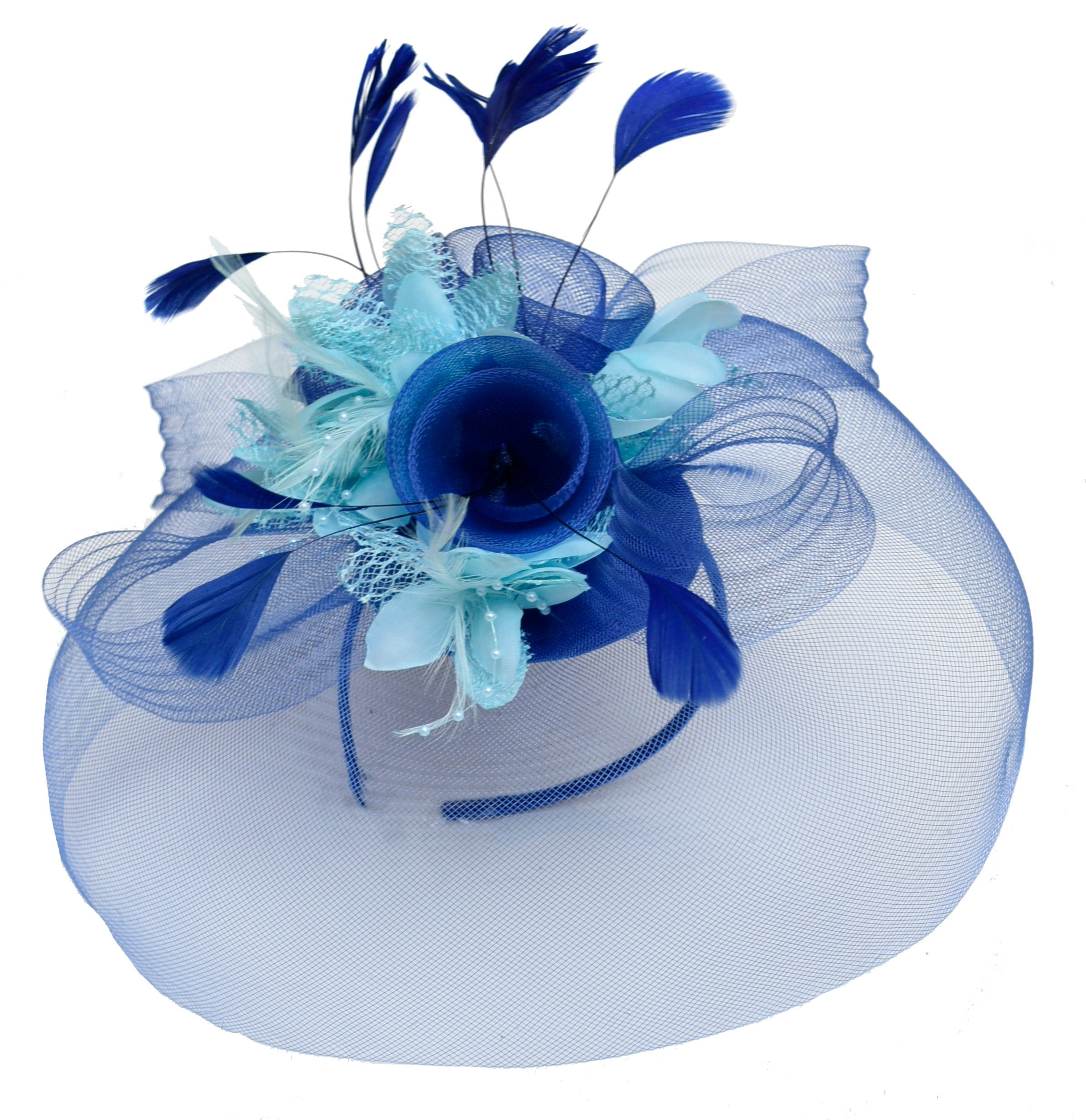 Caprilite Big Royal Blue and Baby Blue Mix Fascinator Hat Veil Net Hair Clip Ascot Derby Races Wedding Headband Feather Flower
