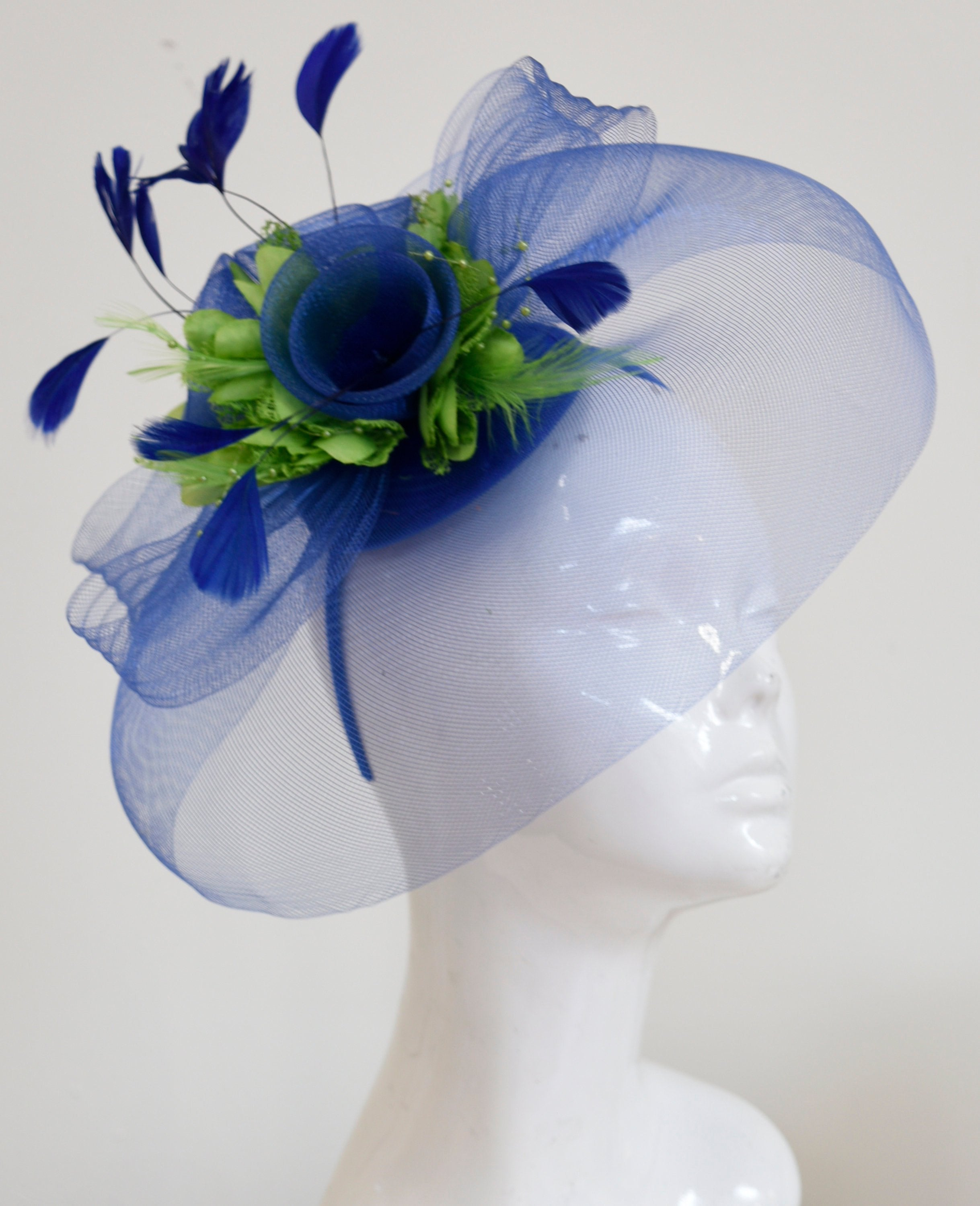 Caprilite Big Royal Blue and Lime Green Fascinator Hat Veil Net Hair Clip Ascot Derby Races Wedding Headband Feather Flower