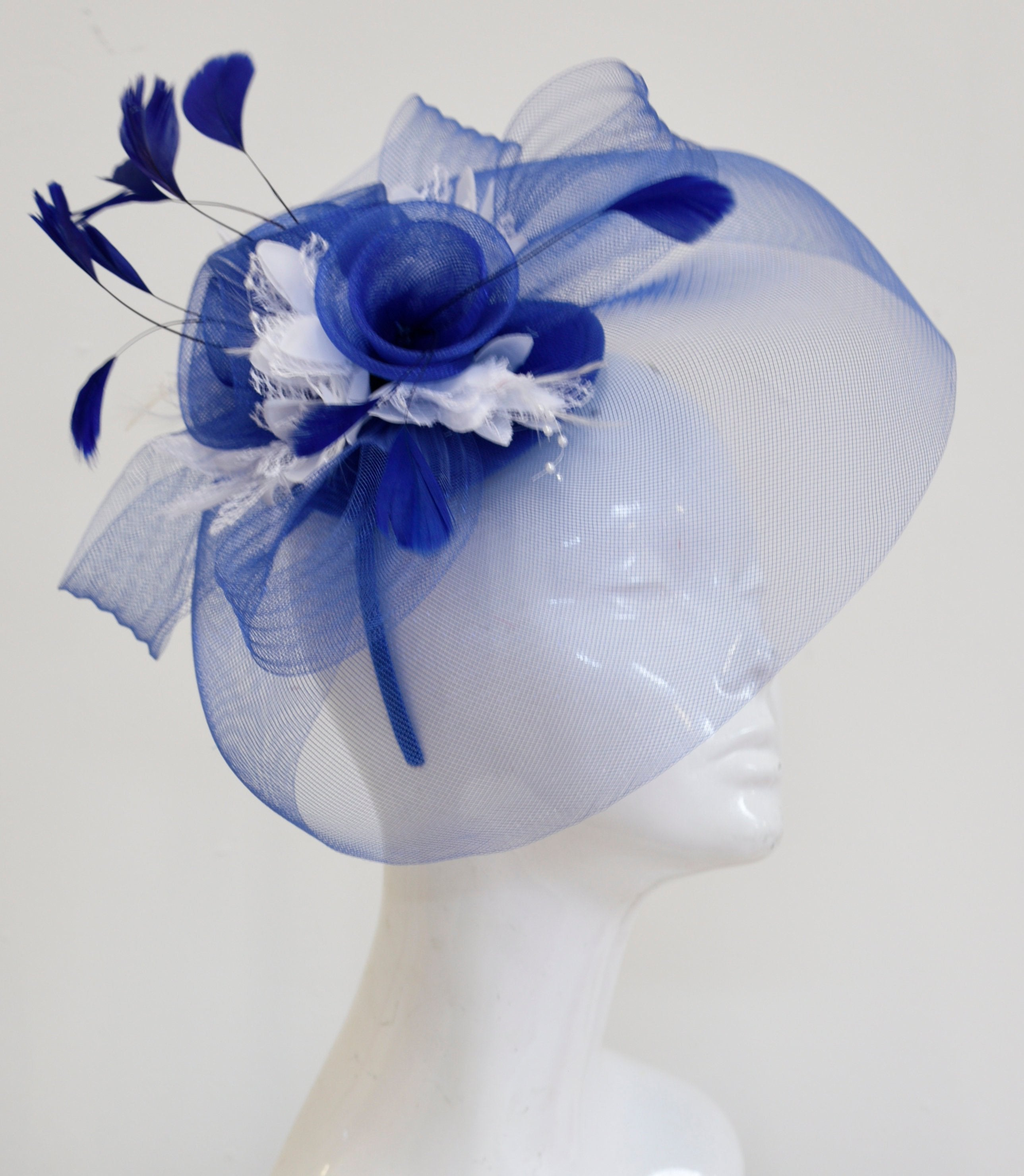 Caprilite Big Royal Blue and White Fascinator Hat Veil Net Hair Clip Ascot Derby Races Wedding Headband Feather Flower