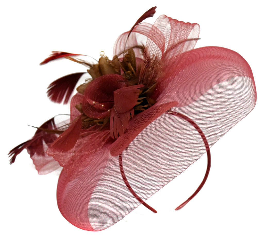 Caprilite Big Burgundy Brown Fascinator Hat Veil Net Hair Clip Ascot Derby Races Wedding Headband Feather Flower