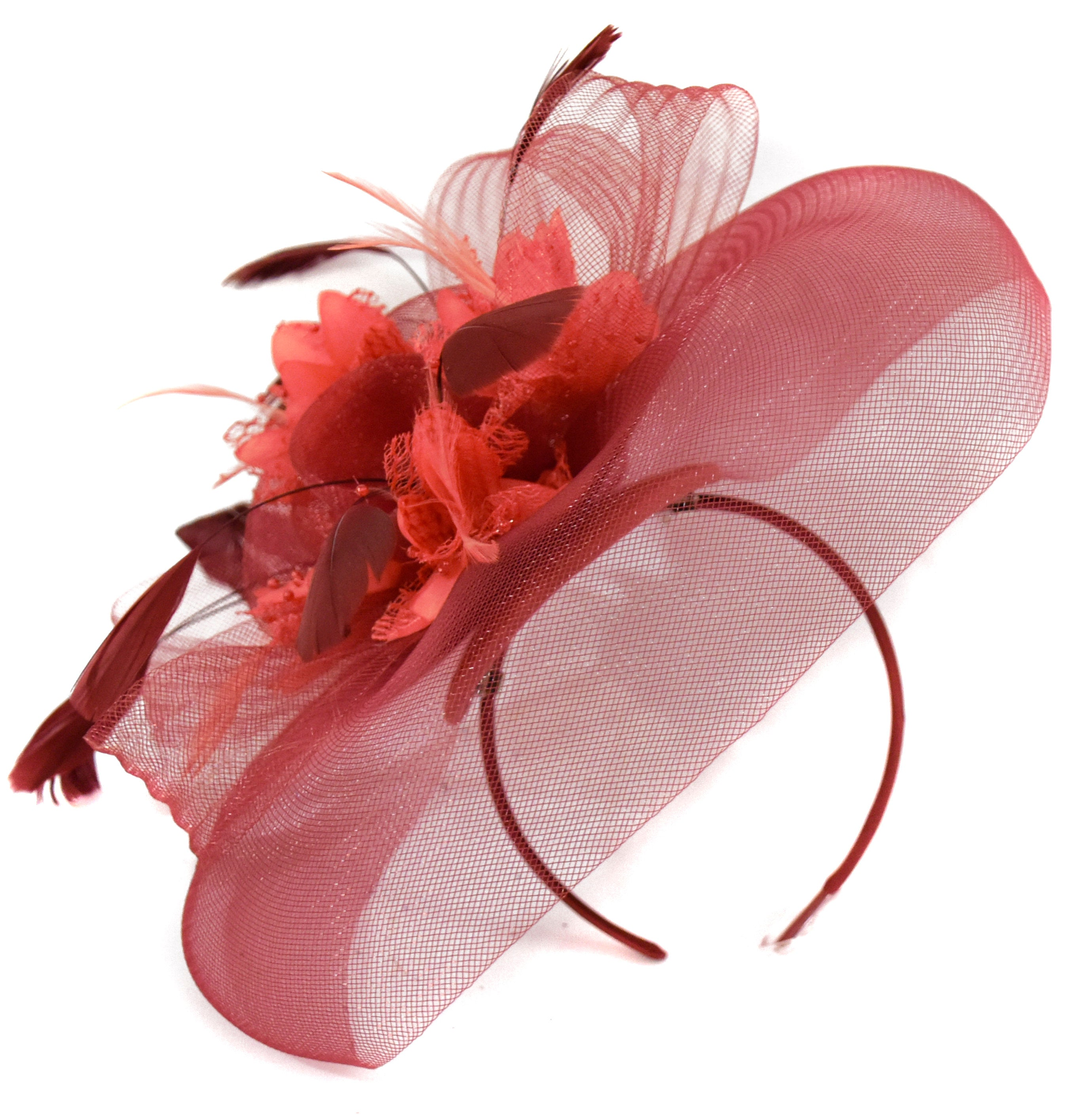 Caprilite Big Burgundy Coral Fascinator Hat Veil Net Hair Clip Ascot Derby Races Wedding Headband Feather Flower