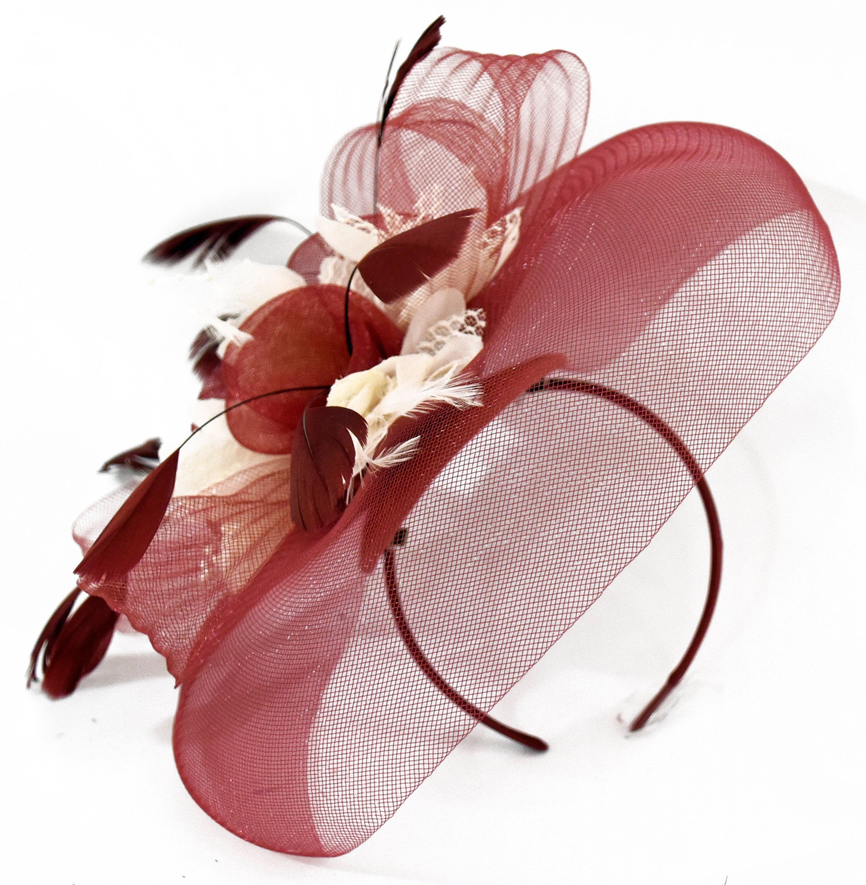 Caprilite Big Burgundy Cream Fascinator Hat Veil Net Hair Clip Ascot Derby Races Wedding Headband Feather Flower