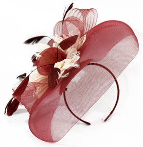 54fc8d86 Caprilite UK Online | Caprilite Big Burgundy Cream Fascinator Hat Veil Net  Hair Clip Ascot D