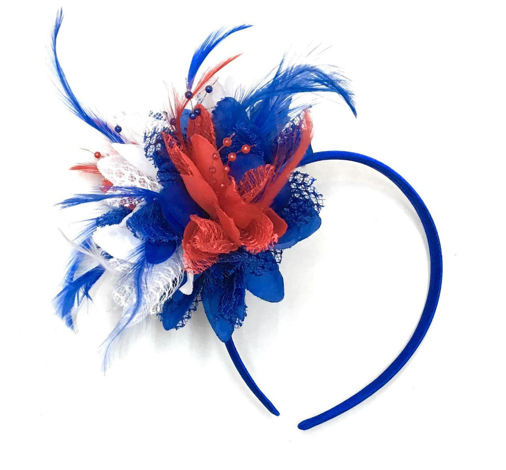 Caprilite Union Jack Blue Red White Fascinator on Headband Alice Band Flower Corsage Royal Wedding Party