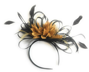 Caprilite Black and Mustard Yellow Fascinator on Headband Alice Band UK Wedding Ascot Races Derby