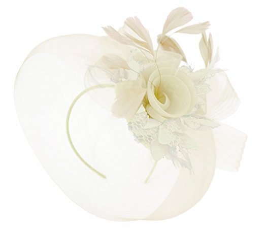 Caprilite Ivory Cream Fascinator Hat Veil Net Hair Clip Ascot Derby Races Wedding Headband Feather Flower
