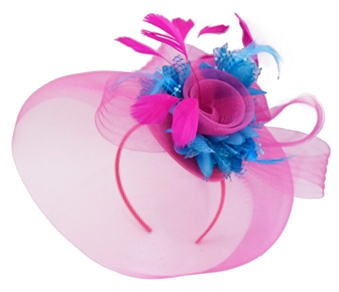 Caprilite Big Fuchsia Hot Pink and Aqua Ice Blue Fascinator Hat Veil Net Hair Clip Ascot Derby Races Wedding Headband Feather Flower