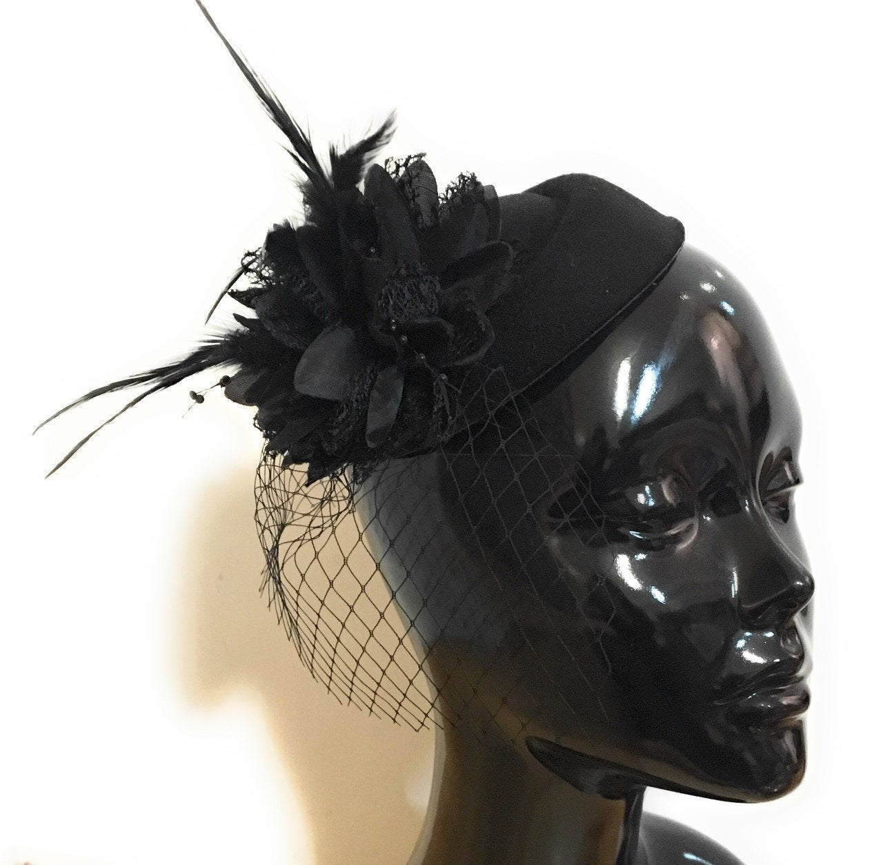 Caprilite Black Fascinator Hat Pill Box Flower Veil Hatinator UK Wedding Ascot Races Clip Felt