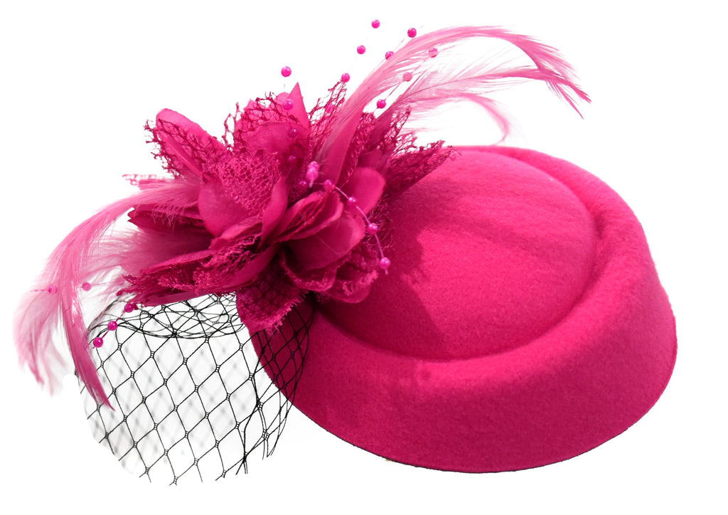 Caprilite Fuchsia Hot Pink Fascinator Hat Pill Box Flower Black Veil Hatinator UK Wedding Ascot Races Clip Felt