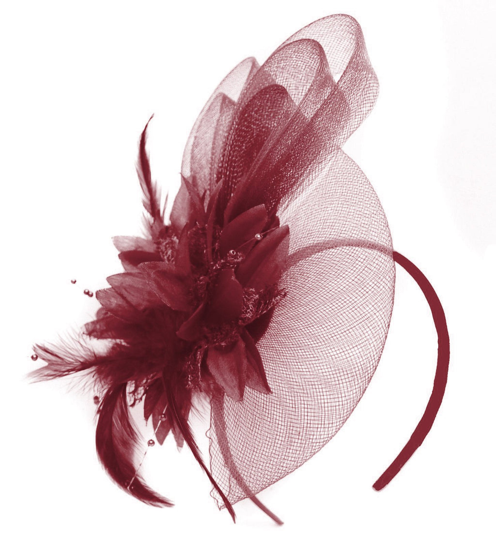 Caprilite Bordeaux Burgundy Flower Veil Feathers Fascinator On Headband Wedding