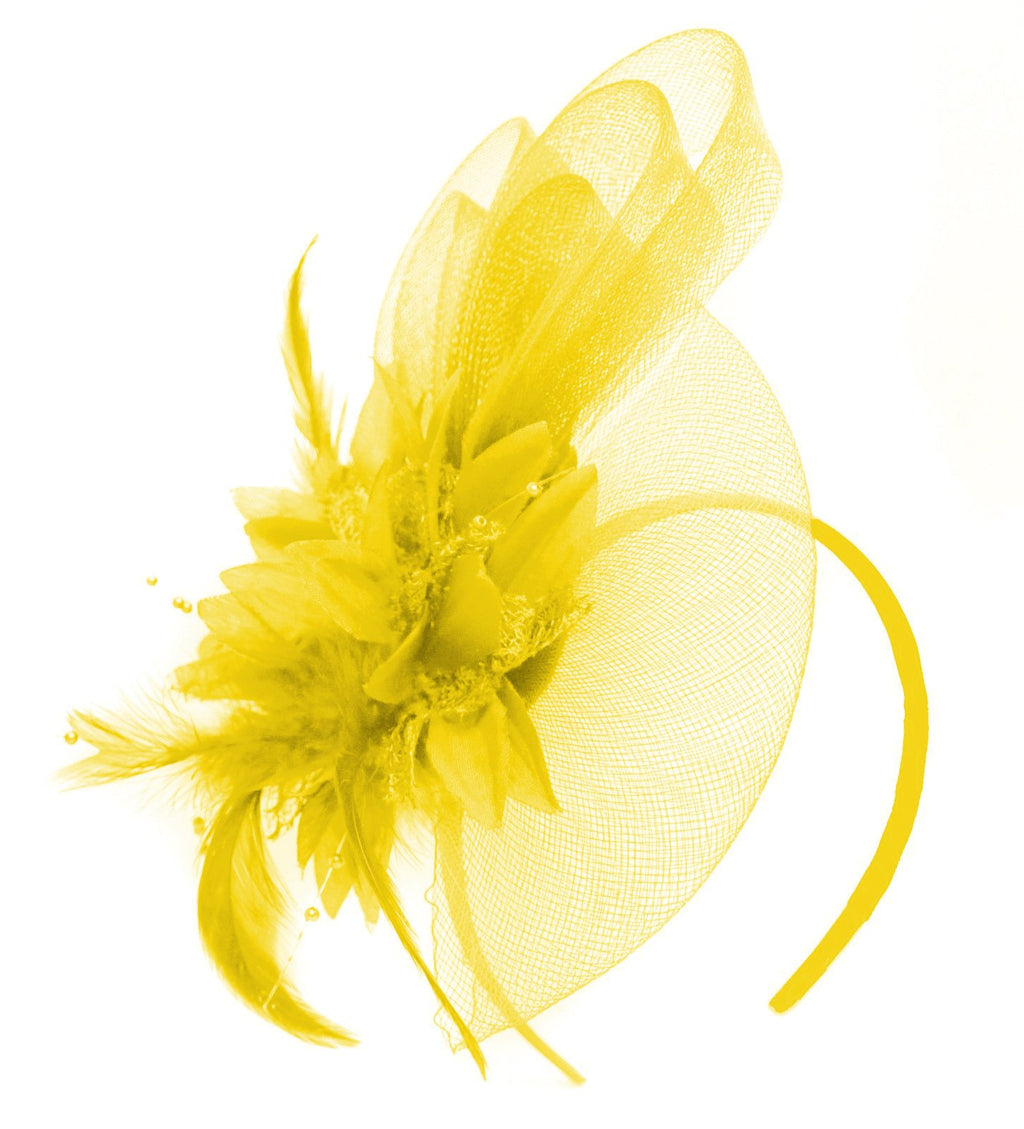 Caprilite Yellow Flower Veil Feathers Fascinator On Headband Wedding