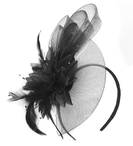 Caprilite Black Flower Veil Feathers Fascinator On Headband Wedding