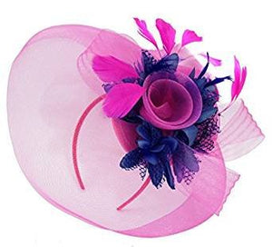 Caprilite Big Fuchsia Hot Pink and Navy Fascinator Hat Veil Net Hair Clip Ascot Derby Races Wedding Headband Feather Flower