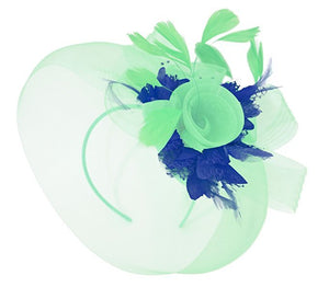 Caprilite Mint Green and Royal Blue Fascinator on Headband Veil UK Wedding Ascot Races Hatinator