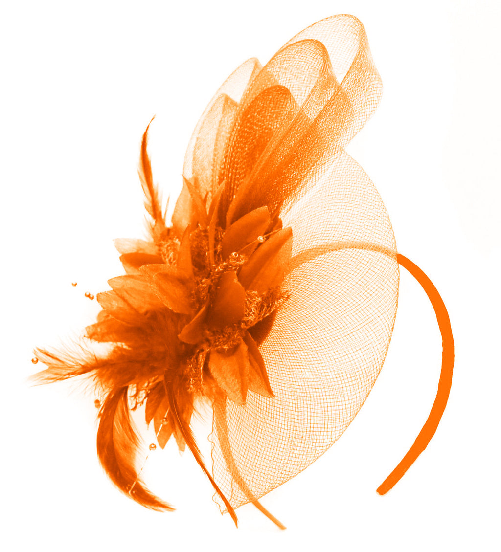 Caprilite Orange Flower Veil Feathers Fascinator On Headband Wedding