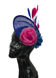Caprilite Sinamay Rose Blue and Fuchsia Hot Pink Disc Saucer Hatinator Fascinator On Headband Wedding