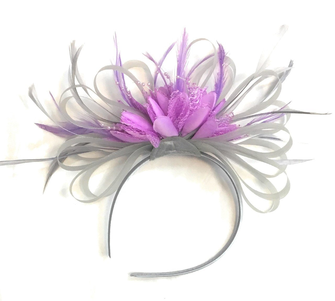 Caprilite Grey Silver & Lilac Purple Fascinator on Headband AliceBand UK Wedding Ascot Races Loop