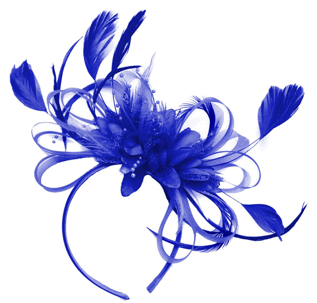 Caprilite Royal Blue Net Hoop & Feathers Fascinator On Headband Wedding