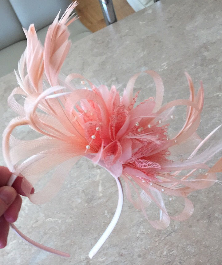 Caprilite All Nude Salmon pink Peach Fascinator on Headband Alice Band UK Wedding Ascot Races Loop