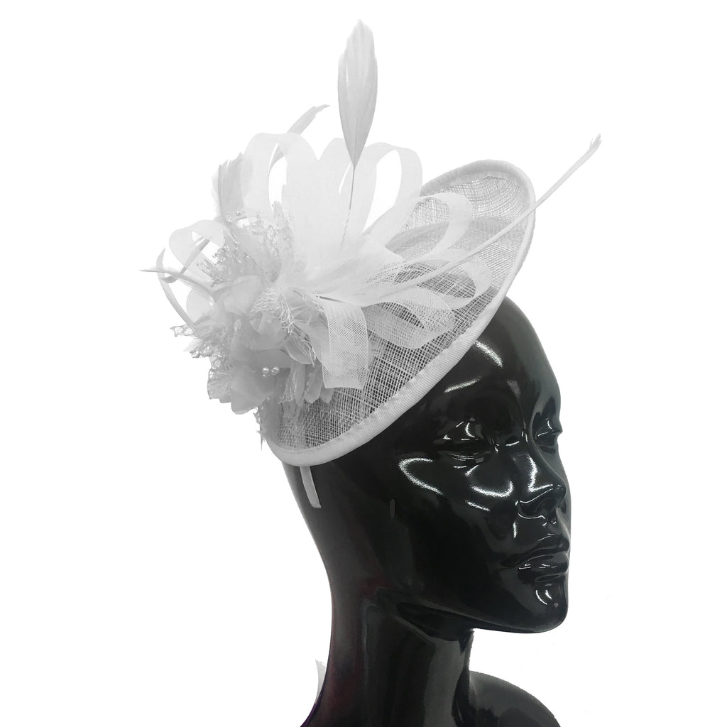 Caprilite Sinamay White Fascinator on Headband Alice Band Wedding Ascot Races