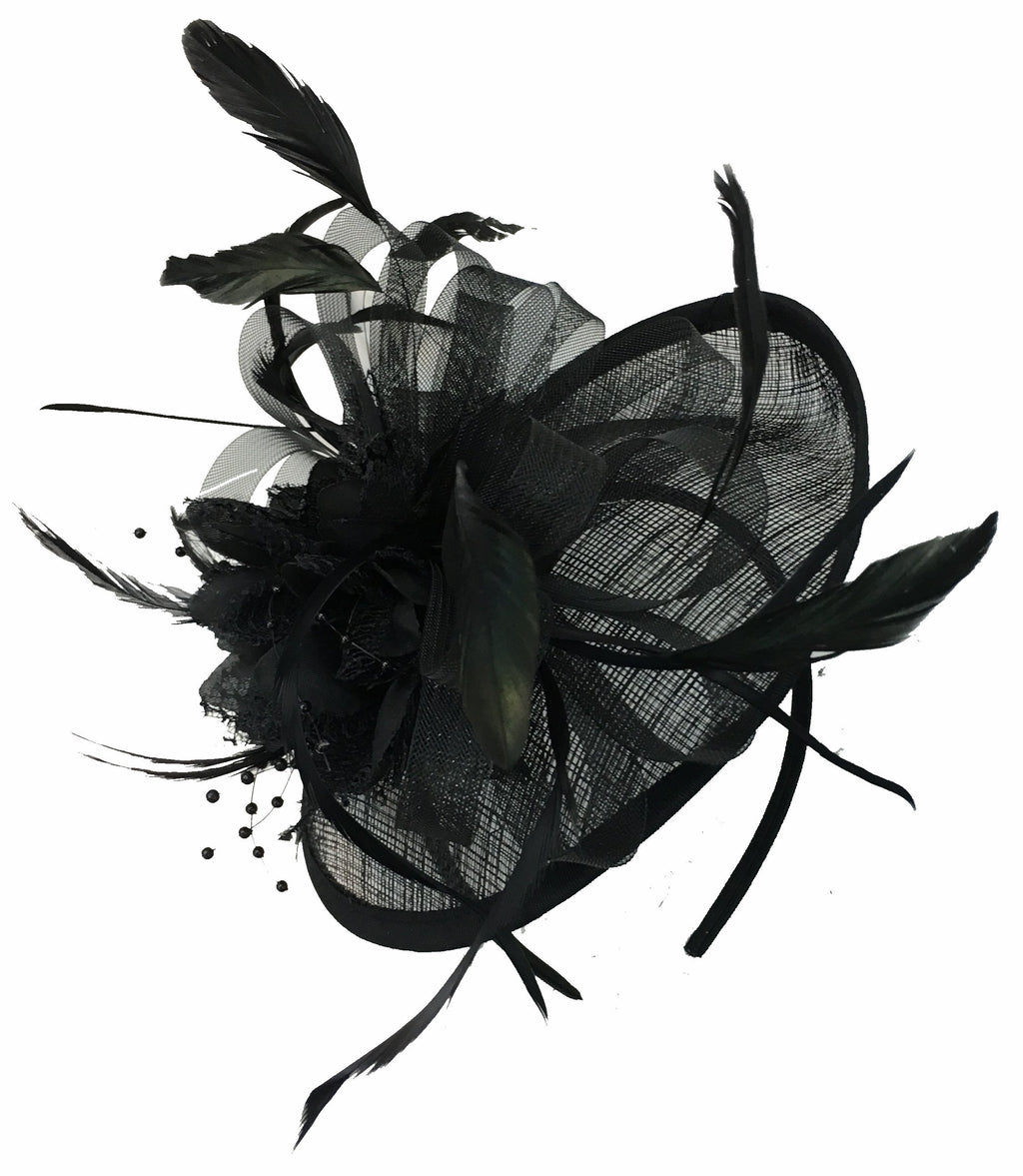 Caprilite Disc Saucer Sinamay Black Fascinator on Headband Alice Band Wedding Ascot Races