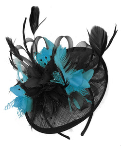 Caprilite Black and Aqua Sinamay Disc Saucer Fascinator Hat for Women Weddings Headband