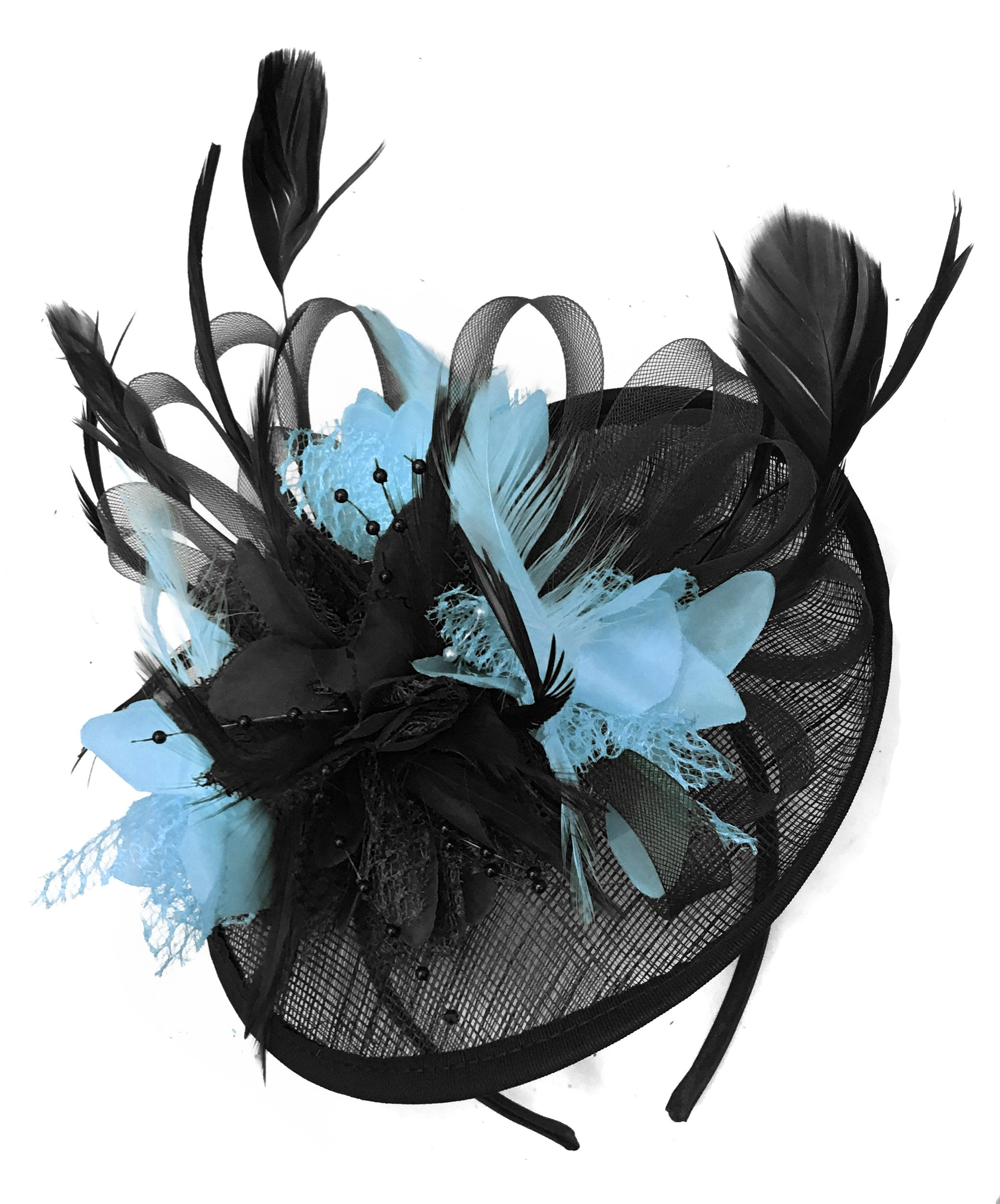 Caprilite Black and Light Blue Sinamay Disc Saucer Fascinator Hat for Women Weddings Headband