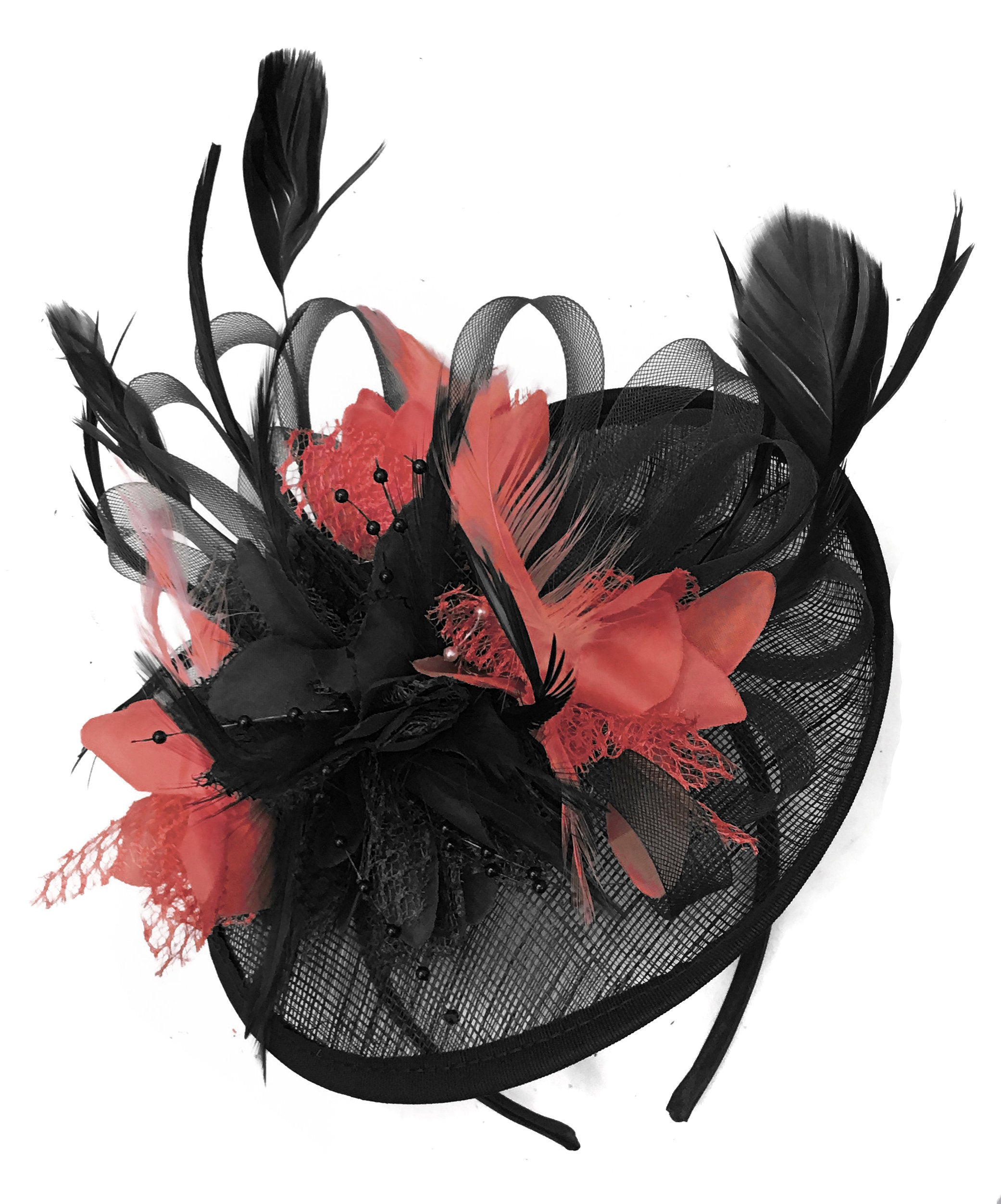 Caprilite Black and Coral Sinamay Disc Saucer Fascinator Hat for Women Weddings Headband