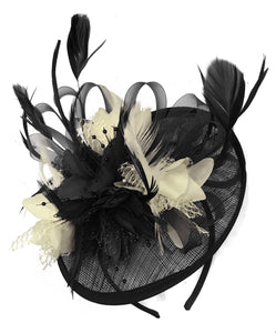 Caprilite Black and Cream Sinamay Disc Saucer Fascinator Hat for Women Weddings Headband