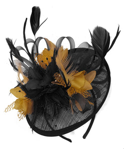 Caprilite Black and Mustard Sinamay Disc Saucer Fascinator Hat for Women Weddings Headband