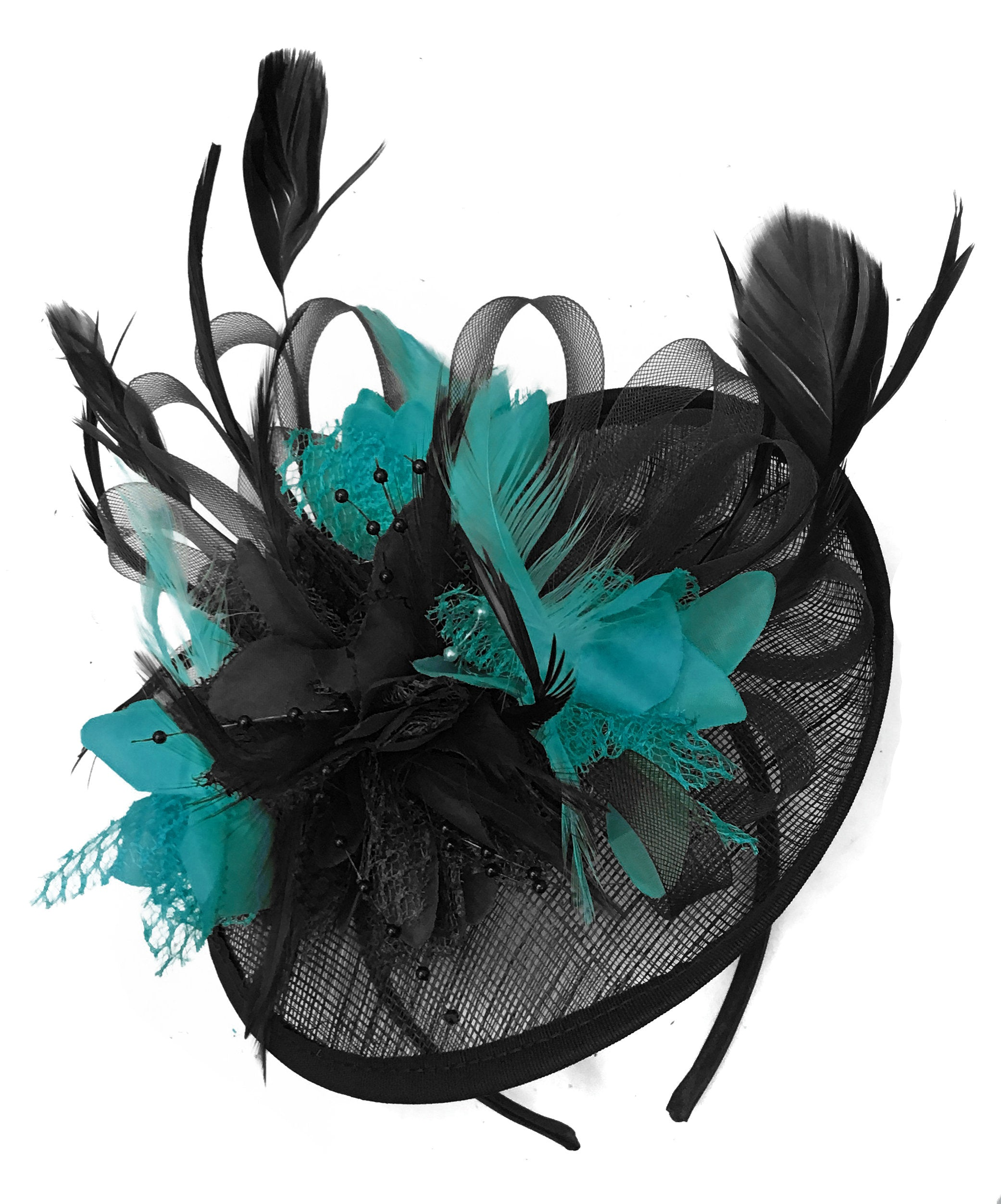 Caprilite Black and Teal Turquoise Sinamay Disc Saucer Fascinator Hat for Women Weddings Headband