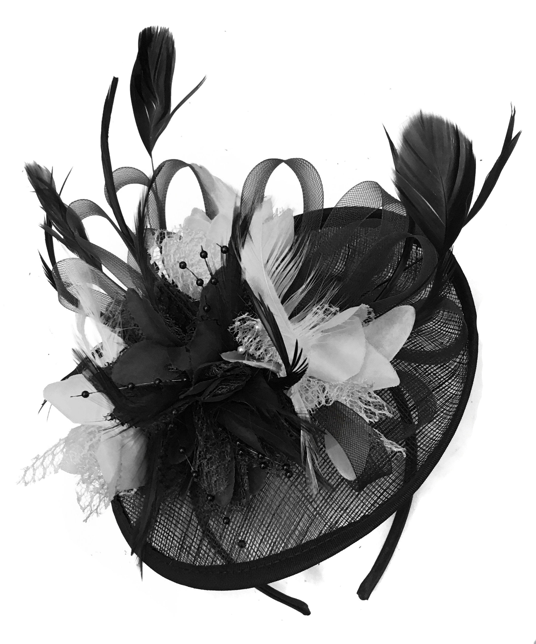 Caprilite Black and White Sinamay Disc Saucer Fascinator Hat for Women Weddings Headband