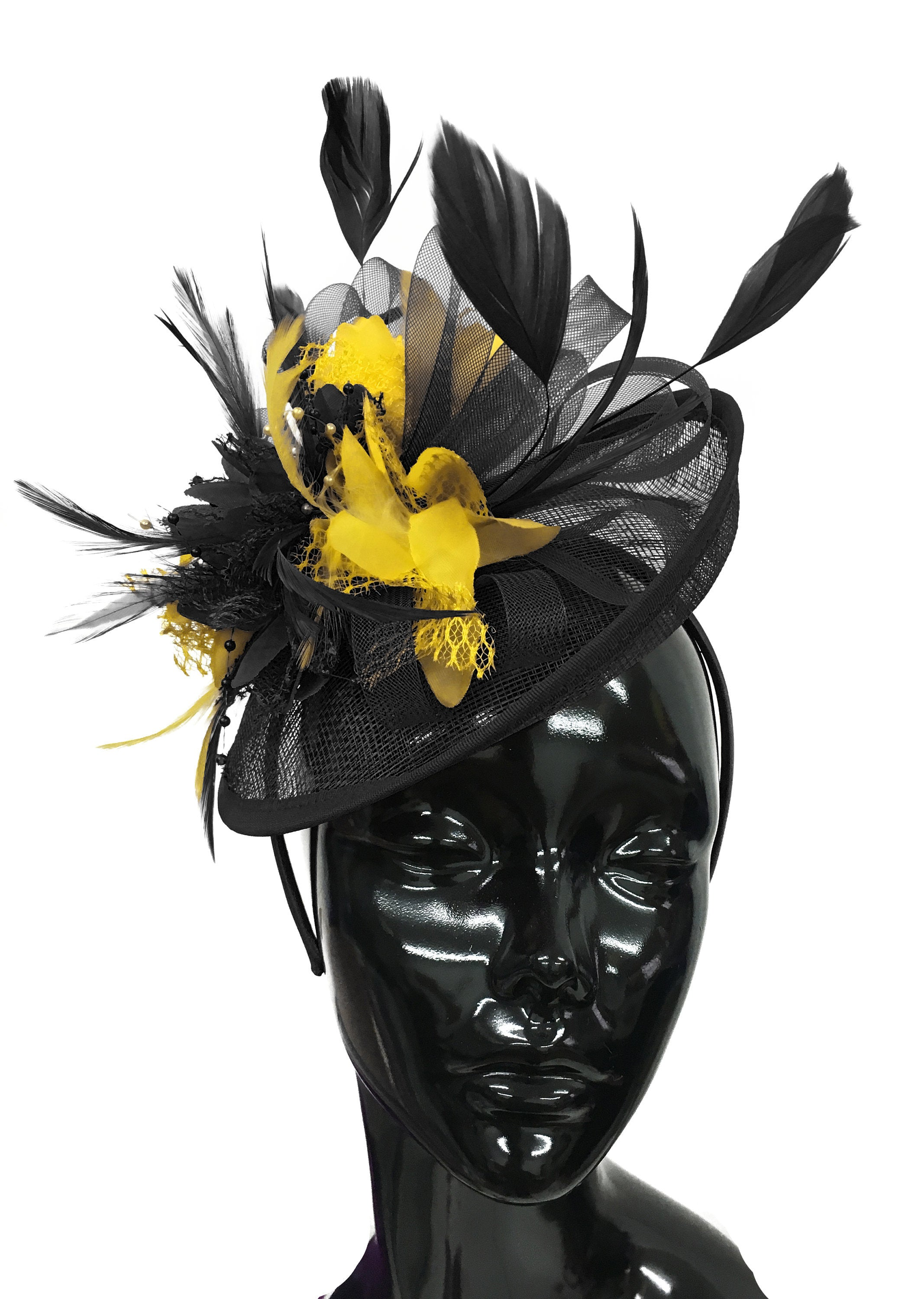 Caprilite Black and Yellow Sinamay Disc Saucer Fascinator Hat for Women Weddings Headband
