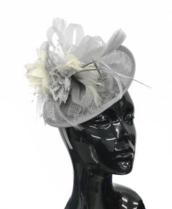 Caprilite Grey Silver and Cream Ivory Sinamay Disc Saucer Fascinator Hat for Women Weddings Headband