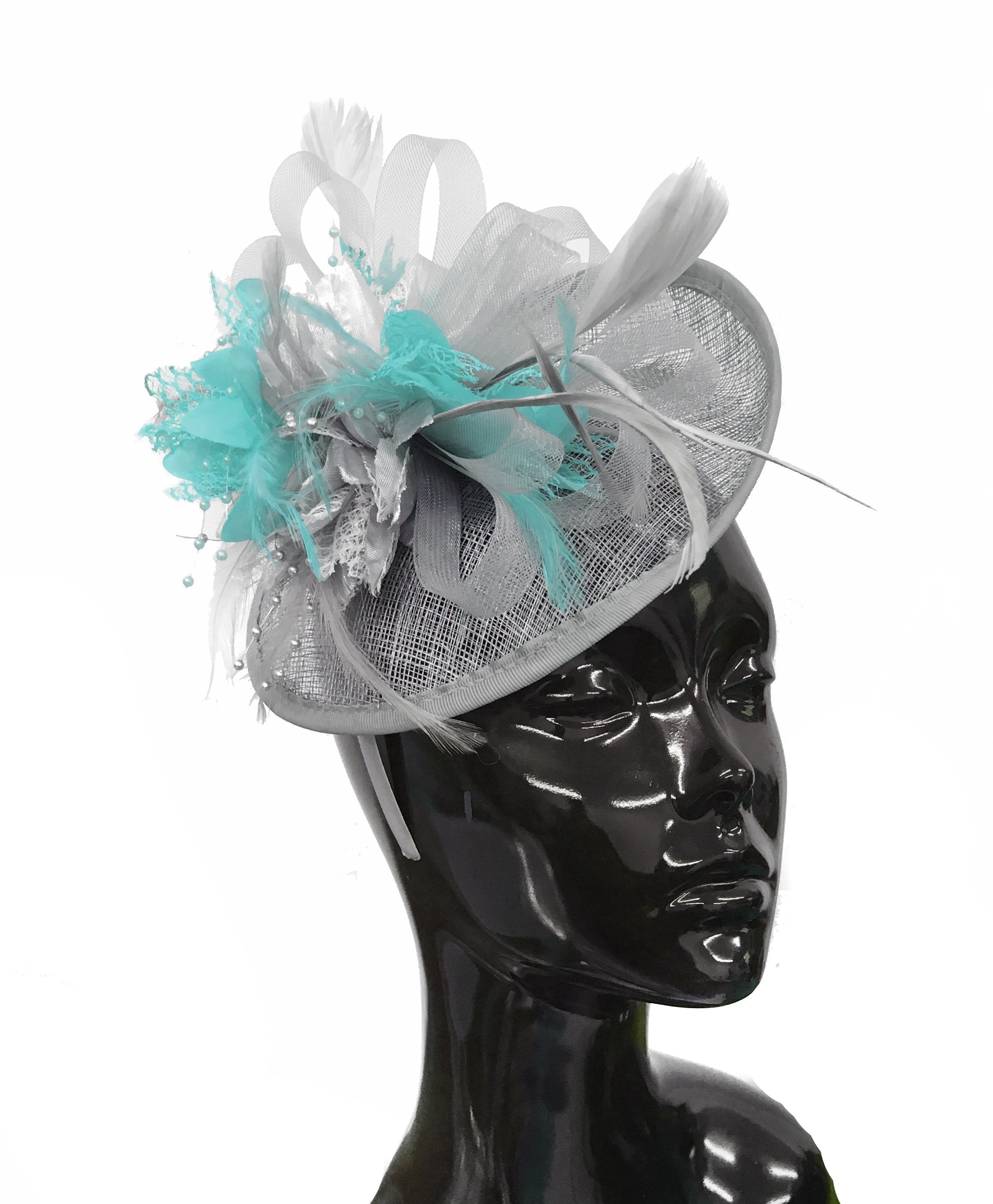 Caprilite Grey Silver and Light Turquoise Sinamay Disc Saucer Fascinator Hat for Women Weddings Headband